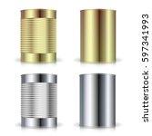 metallic cans vector. realistic ...   Shutterstock .eps vector #597341993