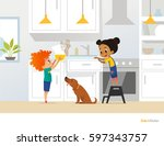children cooking food in... | Shutterstock .eps vector #597343757