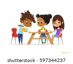 happy kids having breakfast by... | Shutterstock .eps vector #597344237