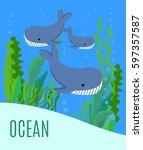card with an inscription ocean... | Shutterstock .eps vector #597357587