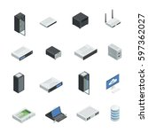 datacenter server cloud... | Shutterstock .eps vector #597362027
