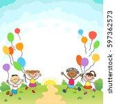 children are jumping ob summer... | Shutterstock .eps vector #597362573