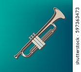 musical instrument trumpet sign.... | Shutterstock .eps vector #597363473
