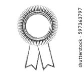 monochrome sketch of medal with ... | Shutterstock .eps vector #597363797
