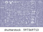 hand drawn food elements. set... | Shutterstock .eps vector #597369713