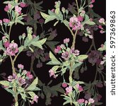 elegant seamless pattern with... | Shutterstock . vector #597369863