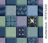 seamless jeans patchwork... | Shutterstock . vector #597371243