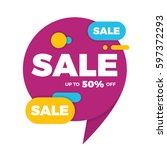 colorful speech bubble sale... | Shutterstock .eps vector #597372293