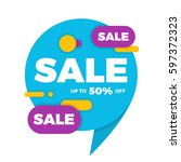 colorful speech bubble sale... | Shutterstock .eps vector #597372323