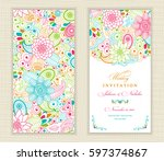 wedding invitation card ethnic... | Shutterstock .eps vector #597374867