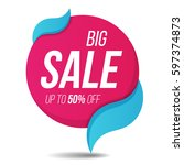 big sale label price tag banner ... | Shutterstock .eps vector #597374873