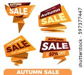 autumn sale. sale label price... | Shutterstock .eps vector #597377447