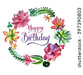 wildflower succulentus flower... | Shutterstock . vector #597390803