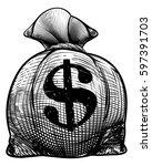 a burlap sack or money bag in... | Shutterstock .eps vector #597391703