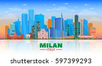 milan italy skyline with... | Shutterstock .eps vector #597399293