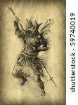 Fantasy Warrior. Ink On Paper