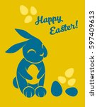 happy easter greeting card with ... | Shutterstock .eps vector #597409613