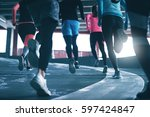 back view of young sportspeople ... | Shutterstock . vector #597424847