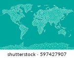 world map vector. triangle... | Shutterstock .eps vector #597427907