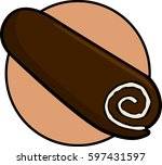 whipped cream filled chocolate... | Shutterstock .eps vector #597431597