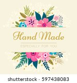 floral wreath on white... | Shutterstock .eps vector #597438083
