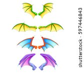 Dragon Wings Isolated On White...