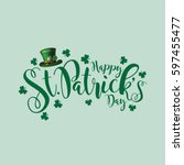 saint patrick's day festive hat ... | Shutterstock . vector #597455477