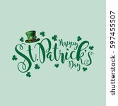 saint patrick's day festive hat ... | Shutterstock .eps vector #597455507