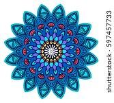 blue mandala. decorative round... | Shutterstock .eps vector #597457733