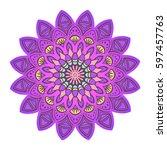 purple mandala. decorative... | Shutterstock .eps vector #597457763