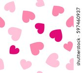 seamless hearts pattern with... | Shutterstock .eps vector #597460937