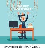 business men celebrating his... | Shutterstock .eps vector #597462077