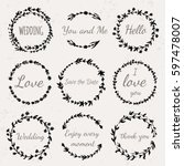 Stock vector hand drawn floral wreath with lettering wedding love save the date thank you boho style design 597478007