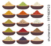 bowls of dried cereals and... | Shutterstock .eps vector #597483923
