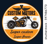 motorcycle rider typography  t... | Shutterstock .eps vector #597486773