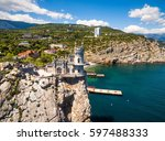 Stock photo aerial view of swallow s nest castle on the rock in the black sea russia this castle is a symbol 597488333