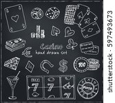 hand drawn doodle set of casino ... | Shutterstock .eps vector #597493673