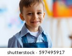 close up portrait of cute ... | Shutterstock . vector #597495917