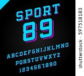 sport font. vector alphabet... | Shutterstock .eps vector #597518183