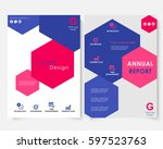 color hexagon annual report... | Shutterstock .eps vector #597523763