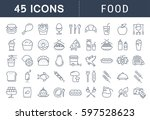 set  line icons meal and fast... | Shutterstock . vector #597528623