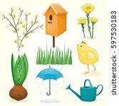spring and summer set  green... | Shutterstock .eps vector #597530183