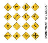 set of traffic signs... | Shutterstock . vector #597530327