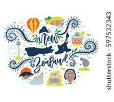new zealand travel attractions... | Shutterstock .eps vector #597532343
