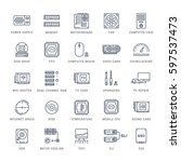 set  line icons with open path... | Shutterstock . vector #597537473