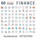 set  line icons in flat design... | Shutterstock . vector #597537593