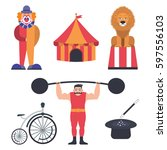 set of circus color icons ...   Shutterstock .eps vector #597556103