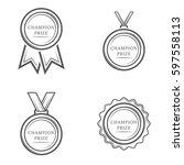 champion prize medal set of... | Shutterstock .eps vector #597558113