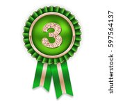 bronze 3rd place rosette  badge ... | Shutterstock .eps vector #597564137