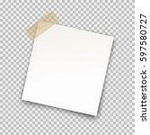 office paper sheet pin on... | Shutterstock .eps vector #597580727